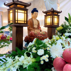 Buddhist Setup With Standing Lamp Buddhist Altar