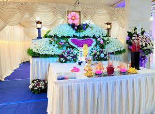 Singapore Buddhist Funeral Wake Setup
