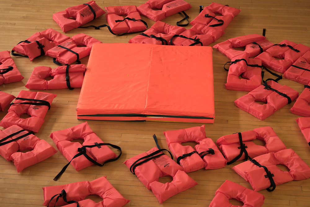 Life raft and life jackets