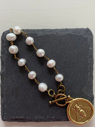 Freshwater Pearl Bracelet with Antique Gold Bee Coin