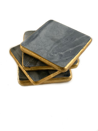 Set of 4 Grey Marble Coasters with Gold Edging