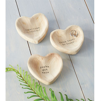 Wooden Heart Sentiment Trinket Dishes