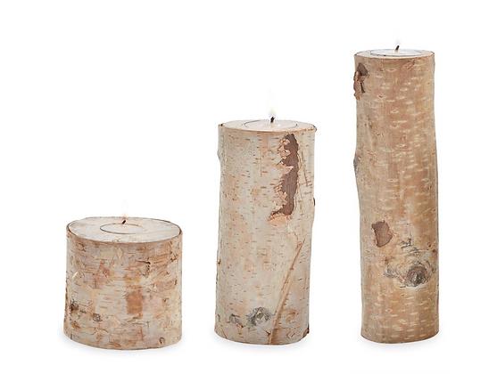 Birch Bark Tea Light Holder (Set of 3)