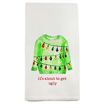 """""""It's about to get ugly"""" Christmas Sweater Hand Towel"""