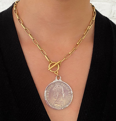 Gold Paper Clip Necklace with LargeSilver Coin