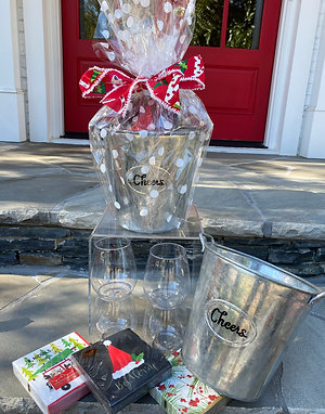 """Pre-wrapped """"Cheers"""" Galvanized Bucket"""