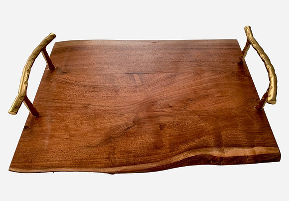Free Form Wooden Board with Gold Handles