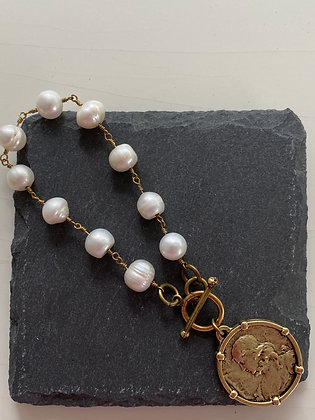 Freshwater Pearl Bracelet with Antique Gold Coin