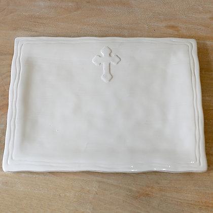 White Ceramic Cross Serving Platter