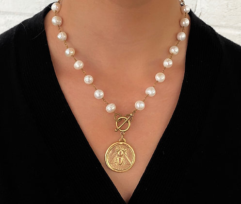 Freshwater Pearl Necklace with Antique Gold Bee Coin
