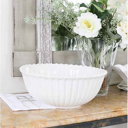 Large Ceramic Ribbed White Serving Bowl