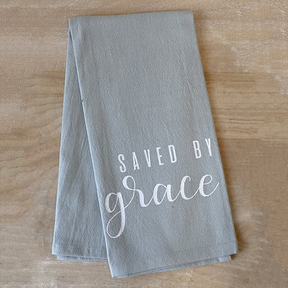 """""""Saved by Grace""""  Gray Hand Towel"""