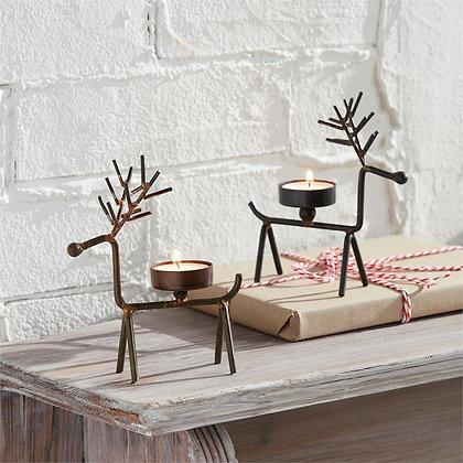 Set of 2 Reindeer Tea Light Holders