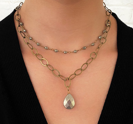 Hematite and Gold Circle Chain Necklace