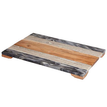 Large Tri-Colored Mixed Marble & Wooden Board