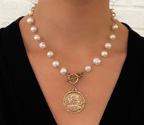 Freshwater Pearl Necklace with Antique Gold Coin
