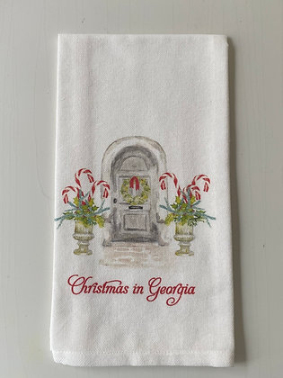 """Christmas in Georgia"" Grey Door/Candy Cane Planters Hand Towel"
