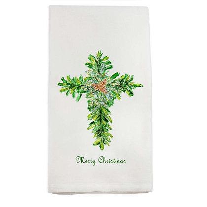 """Merry Christmas Cross"" Hand Towel"