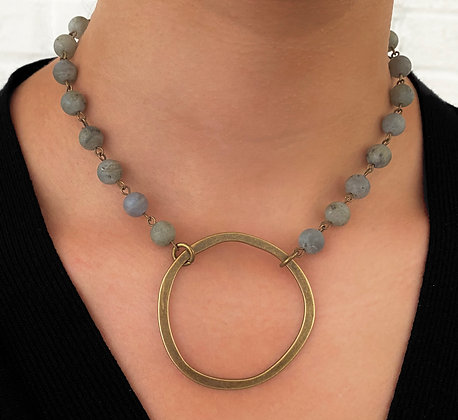 Labradorite Stone Circle Necklace