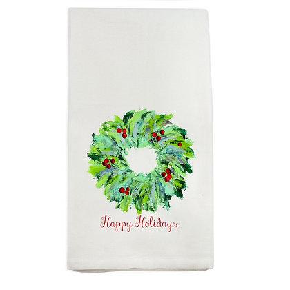 """Happy Holidays Wreath"" Hand Towel"