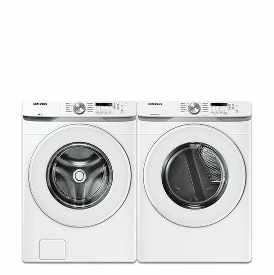 Samsung Ensemble laveuse à chargement frontal et sécheuse électrique, blanc Le forfait comprend :  Laveuse à chargement frontal à haute efficacité de 5,2 pi3 en blanc - ENERGY STAR®  Sécheuse électrique de 7,5 pi3 avec capteur de séchage en blanc - ENERGY STAR®  1 690,00 $