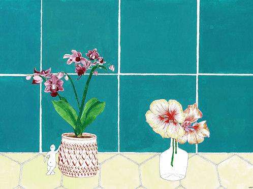 PRINT: Flowers in the Bathroom