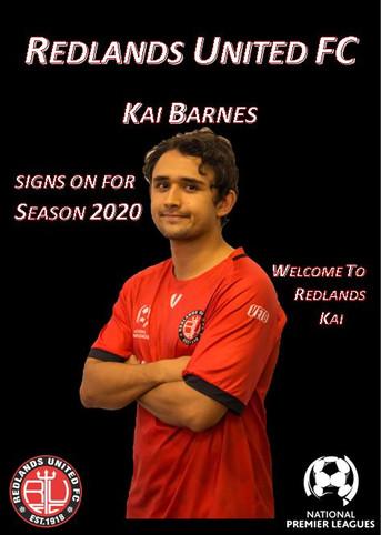 Media Release:   Kai Barnes moves to Redlands United