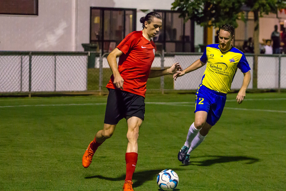 """"""" Redlands Connor McAuley was a threat to the Brisbane Strikers defence all game""""  Photo Ray Gardner"""