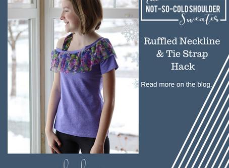 Not-So-Cold-Shoulder Hack - Ruffled Neckline and Tie Strap