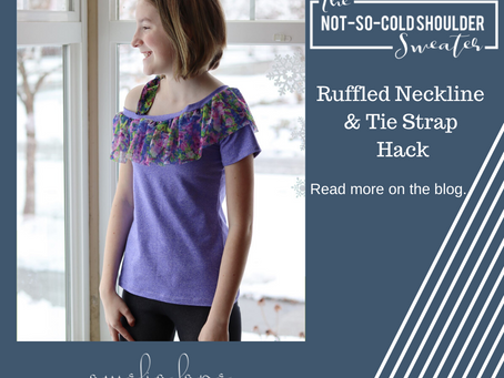 Not-So-Cold-Shoulder Hack - Ruffled Neckline and Tie Strap