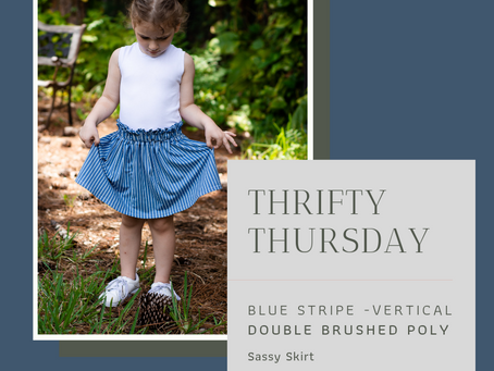 Thrifty Thursday: Blue Stripe and Petite Stitchery Sassy Skirt