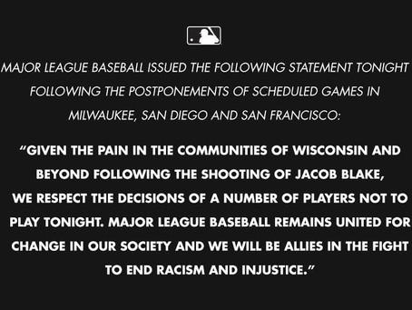 Protestos incentivam adiamentos. BLM e MLB se cruzam novamente.