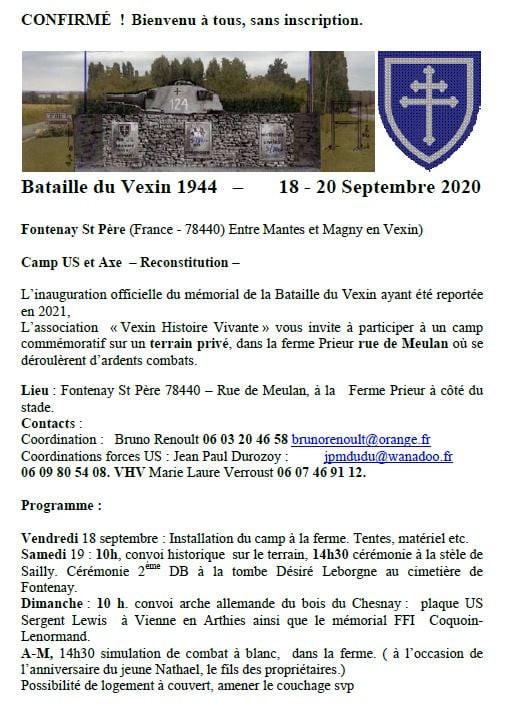 BATAILLE DU VEXIN ! FONTENAY SAINT PÈRE (78) 18&20 SEPTEMBRE 2020