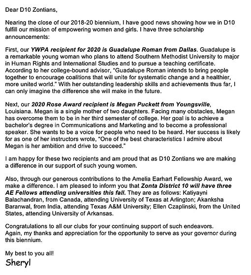 District 10 Schol Letter