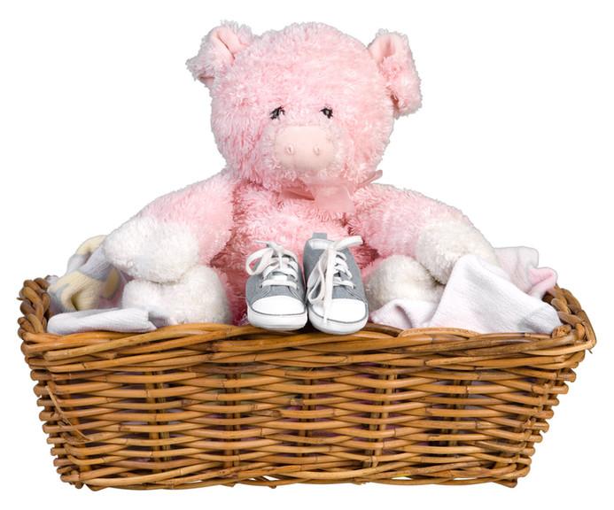 Pig Stuffie in a Basket