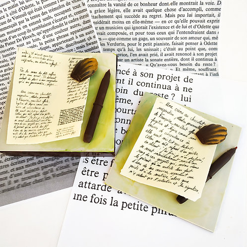 Madeleine de Proust - Plaque ou Boîte garnie 14 x 14 cm