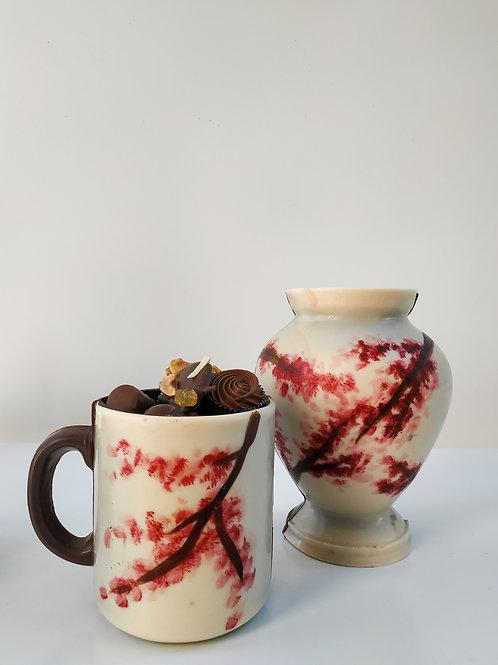 Mug et vase fleurs de cerisier - garnis d'assortiment