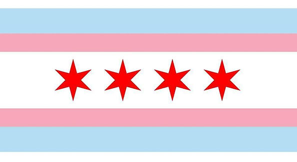 Verson of the Chicago Flag in the colors of the Transgender Flag | T-MAC Chicago
