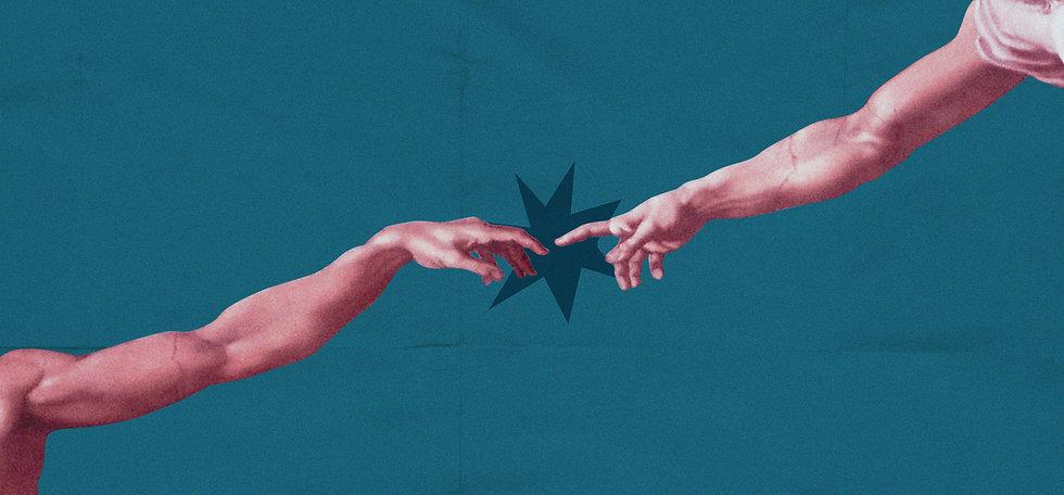 Imagem de duas mãos que estão quase se encostando. Uma forma imitando explosão simboliza a conecção das mãos.