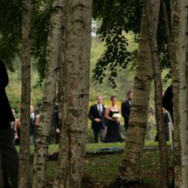 Bridal Party arrives thru Birches                                                                                                                     vvvgbbb