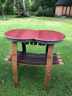Double Top Wine Stained Table