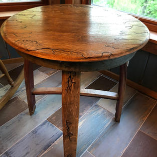 Barrel Top Table with Wood Burned Design