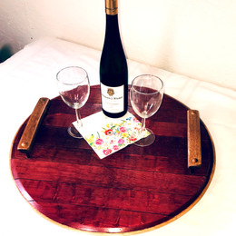 Barrel Top Wine Stained Lazy Susan