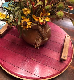 Wine Stained Barrel Top Lazy Susan