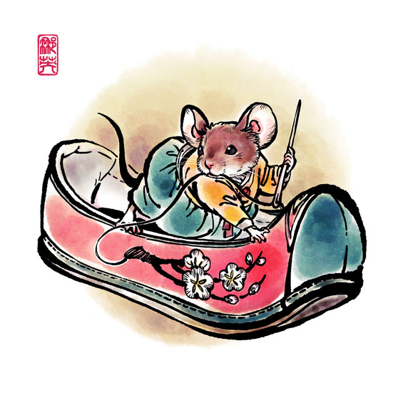 Cinderella_A Mouse making Flower Shoe