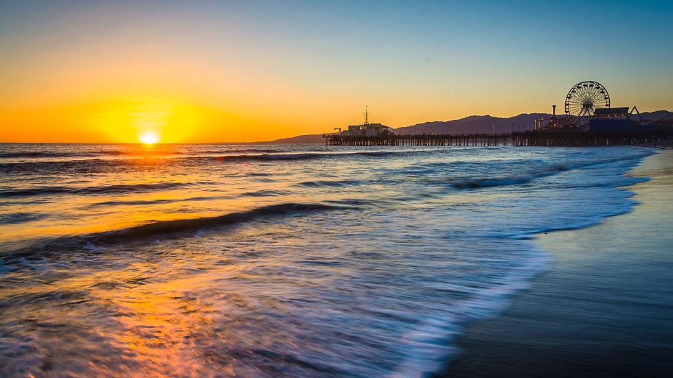 Santa Monica Pier during sunset in Santa Monica, California