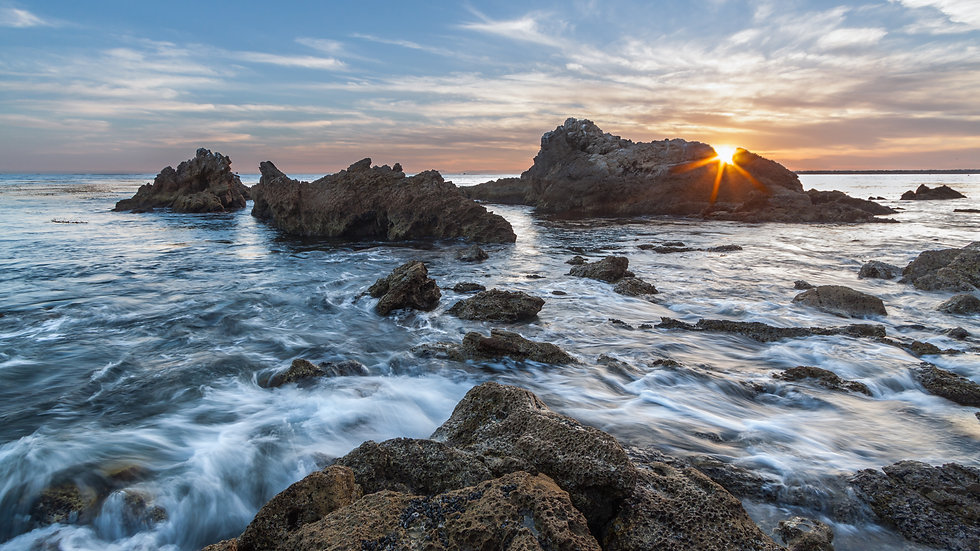 Corona del Mar during sunset in California