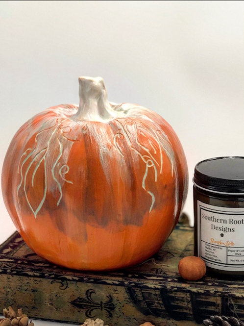 Bright Orange Sgraffito Pumpkin