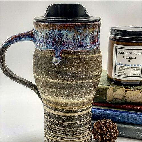 Blue Drip Over Swirled Clay Travel Mug