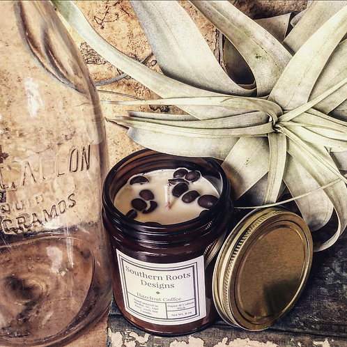 Hazelnut Coffee candle infused with coffee beans